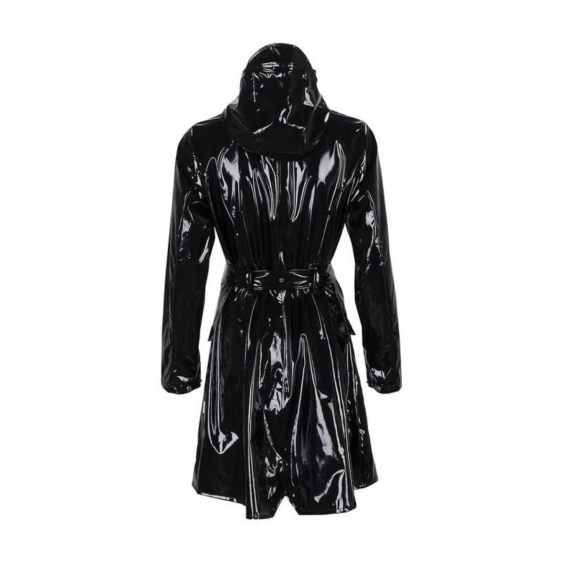 rains regntøj Rains regnjakke, glossy curve jacket, sort - størrelse - m/l på superlove