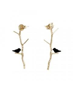 Pendulum, Lovebirds Øreringe, Guld/Sort
