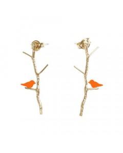 Pendulum, Lovebirds Øreringe, Guld/Orange