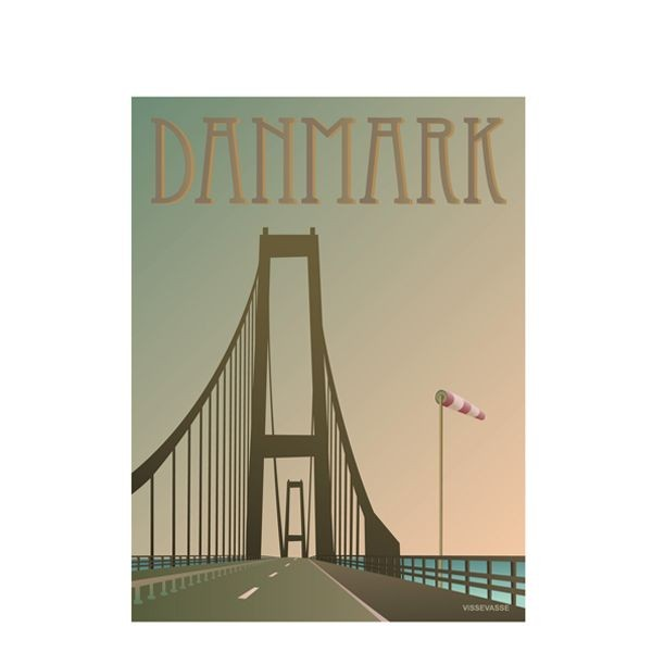 Vissevasse, plakat 30x40cm, danmark, broen fra vissevasse på superlove