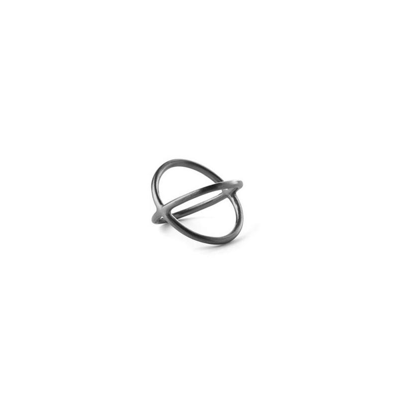 pernille corydon – Pernille corydon ring, crossed, rhodium - størrelse - 52 på superlove
