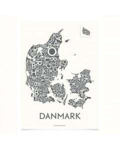 Kortkartellet Plakat, Danmark Med Byer 50x70, Koksgrå