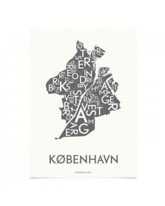 Kortkartellet Plakat, København 50x70, Koksgrå
