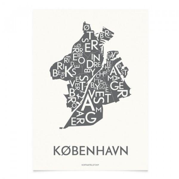 Image of   Kortkartellet Plakat, København 50x70, Koksgrå