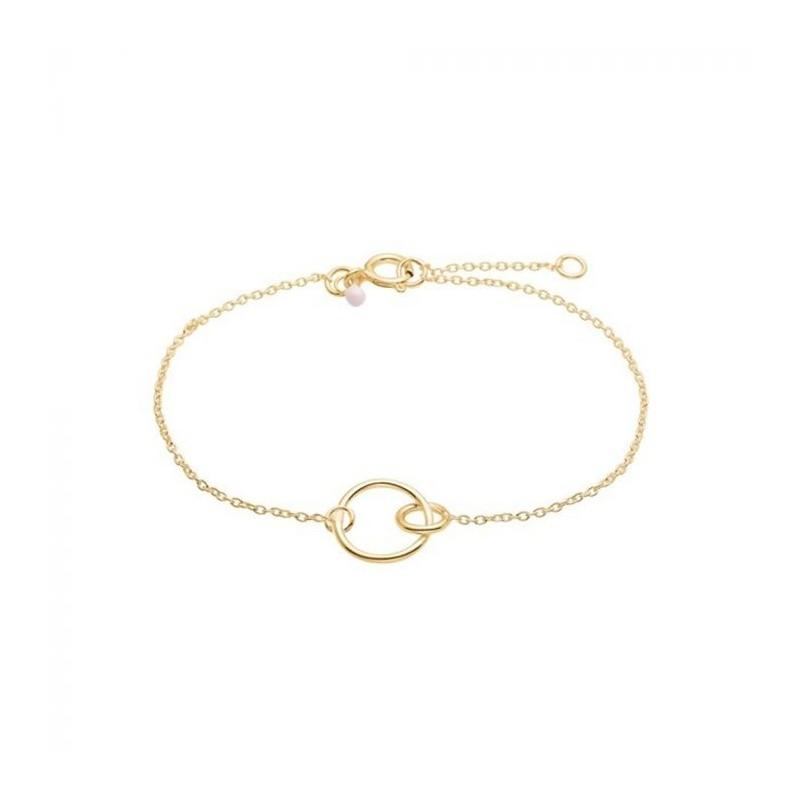 enamel – Enamel armbånd, double cirkel, guld på superlove