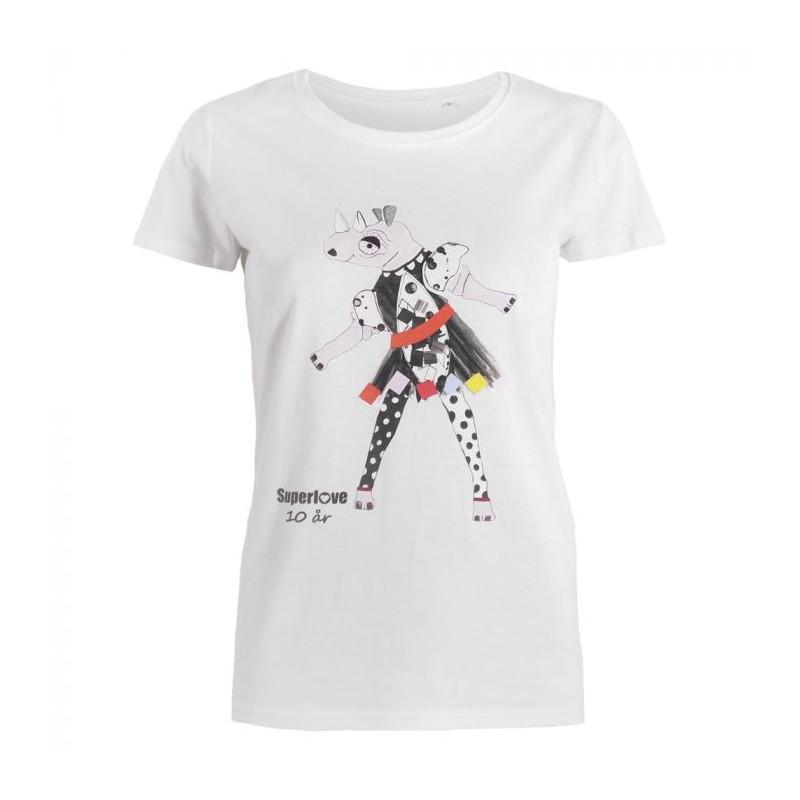 superlove – Superlove t-shirt m/næsehorn, hvid - størrelse - m fra superlove