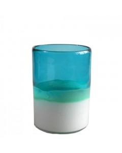 Athezza Vase, Tube, Blå/Hvid