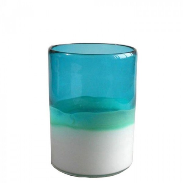 Image of   Athezza Vase, Tube, Blå/Hvid