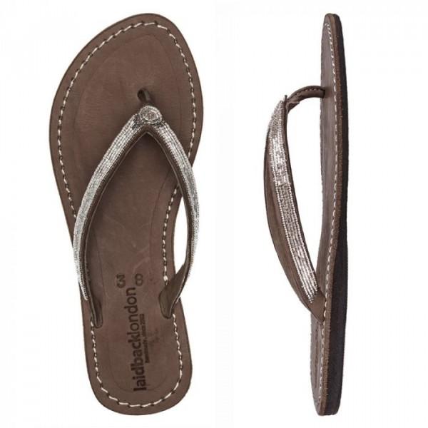laidback london – Laidback london sandaler, seri, brun/sølv - størrelse - 37 på Edgy.dk