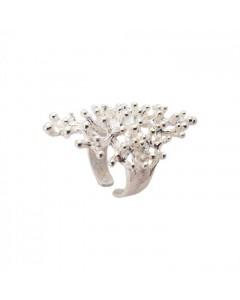 Pendulum Ring, Coral, Sølv