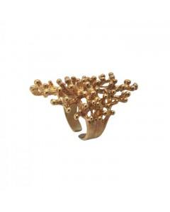 Pendulum Ring, Coral, Guld
