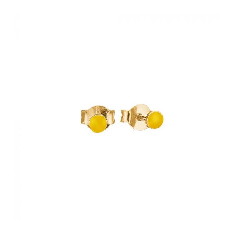 enamel – Enamel øreringe, petit enamel, guld/gul på superlove