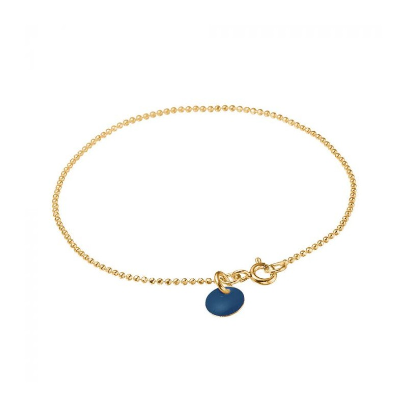 Image of   Enamel Armbånd, Ball Chain, Guld/Navy