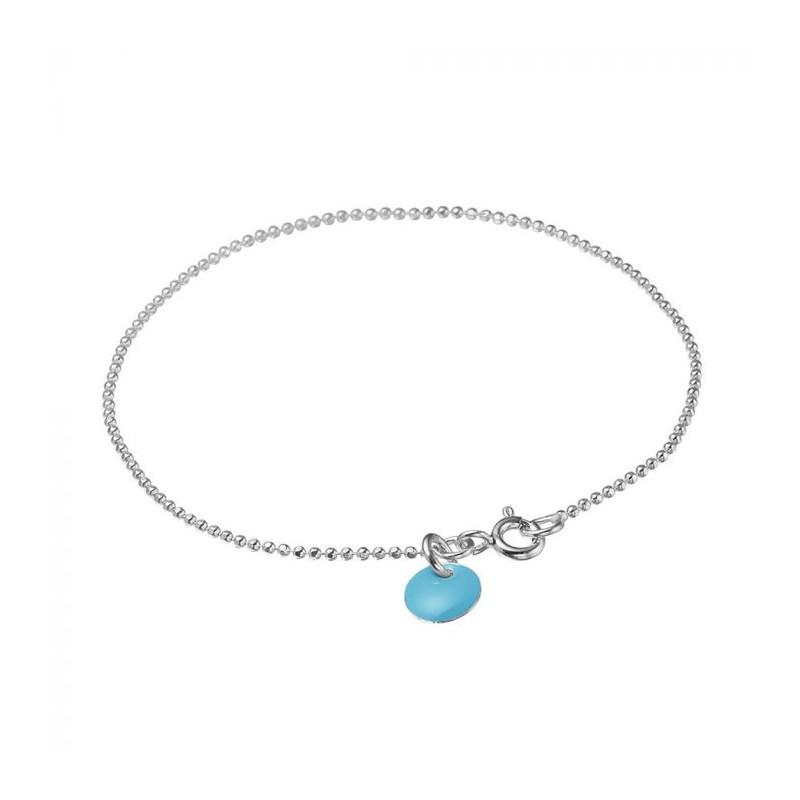 enamel Enamel armbånd, ball chain, sølv/lys blå på superlove