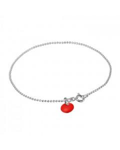 Enamel Armbånd, Ball Chain, Sølv/Rød