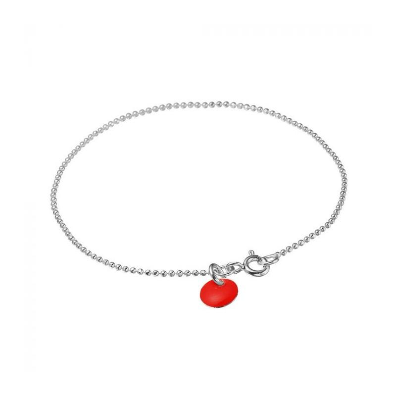 enamel Enamel armbånd, ball chain, sølv/rød på superlove