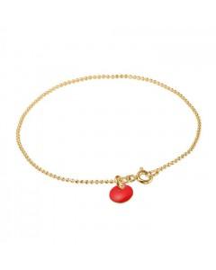 Enamel Armbånd, Ball Chain, Guld/Rød