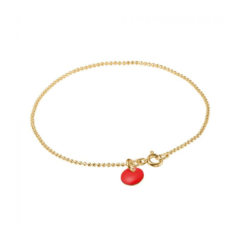 enamel Enamel armbånd, ball chain, guld/rød på superlove
