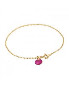 Enamel Armbånd, Ball Chain, Guld/Fuchsia