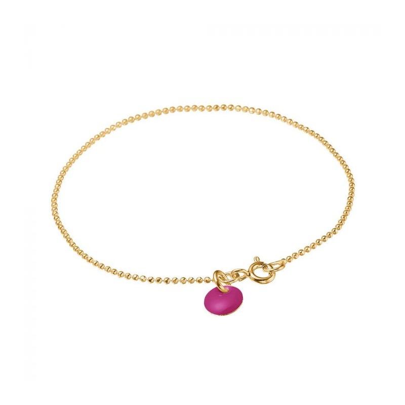 enamel – Enamel armbånd, ball chain, guld/fuchsia på superlove