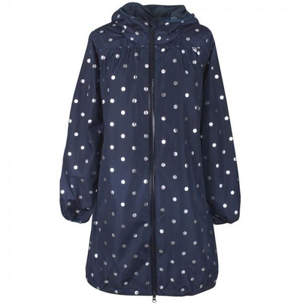 danefæ – Danefæ regnfrakke, helen m/prikker, navy/sølv - størrelse - xl på superlove