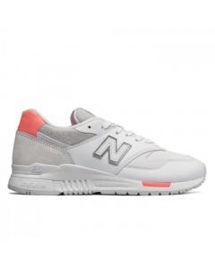 New Balance Sneakers, Suede 840WF, Hvid/Koral