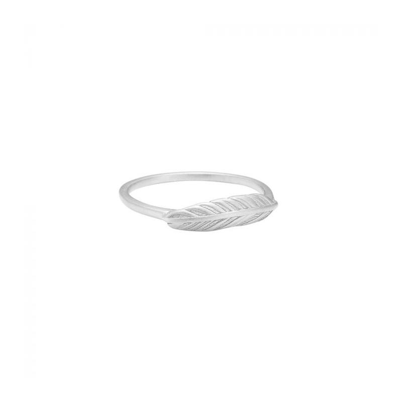 enamel Enamel ring, feather, sølv - størrelse - 57 fra superlove