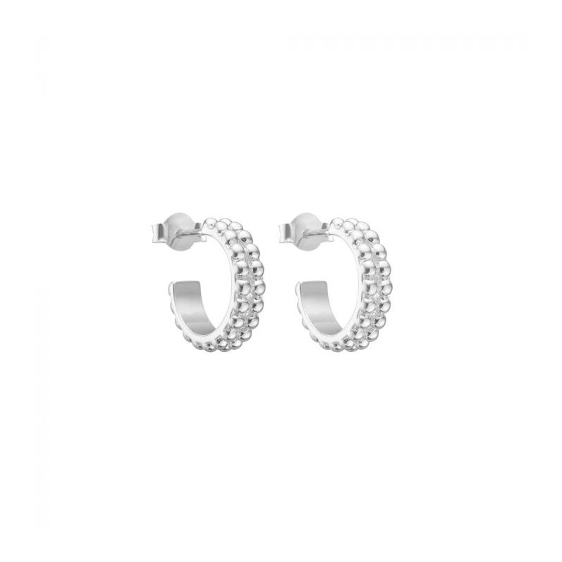 enamel – Enamel øreringe, bubble loop hoops, silver på superlove
