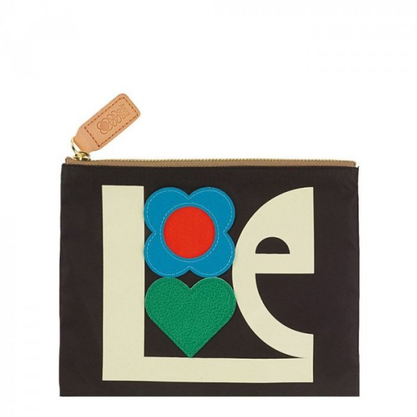 Image of   Orla Kiely Makeup Pung, Love Print Applique, Sort