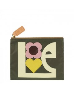 Orla Kiely Makeup Pung, Love Print Applique, Khaki
