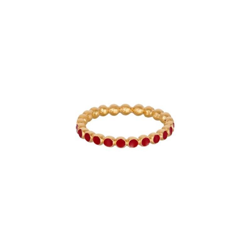 pernille corydon – Pernille corydon ring, pixel red, guld/rød - størrelse - 55 på superlove