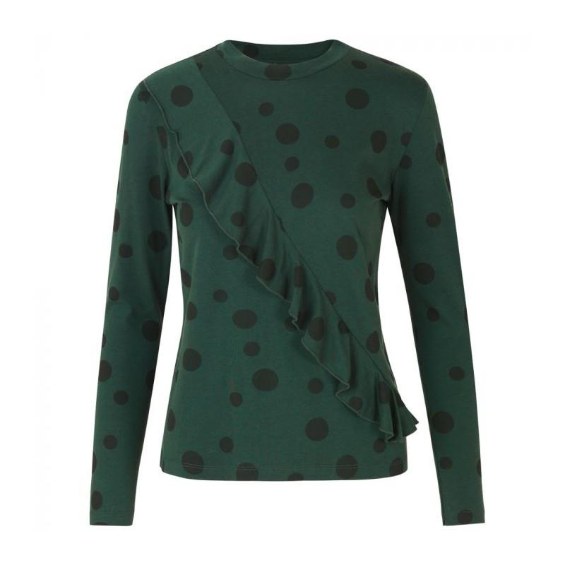 stig p Stig p bluse, lino dots, mørkegrøn/sort - størrelse - s på superlove