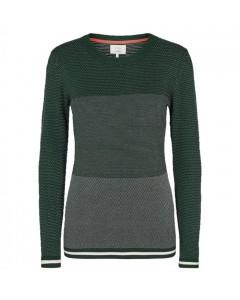 Nümph Sweater, New Maelynn, Mørkegrøn/Hvid