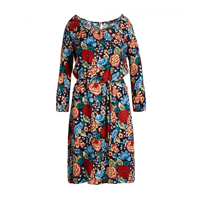 king louie King louie kjole, billie, mørkeblå/multi - størrelse - 36 på superlove