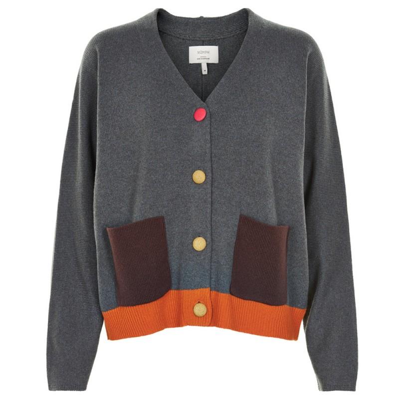 nümph cardigan, guernsey, grå/multi - størrelse - m fra nümph
