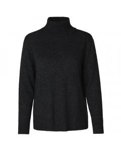 Rosemunde Rullekrave, Pullover LS, Dark Grey Melange