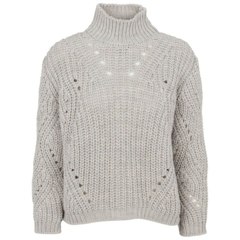 Basic apparel sweater, pico, light grey melange - størrelse - l fra basic apparel på superlove