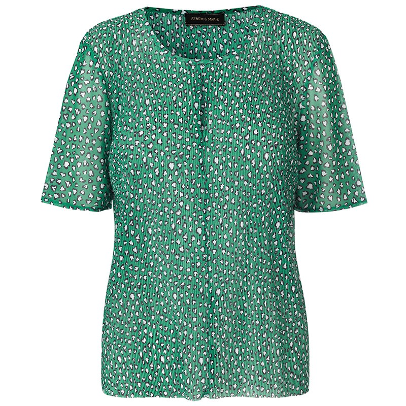 Image of   Storm & Marie Top, Hearts SS, All Over Print/Green
