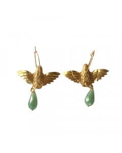 Pendulum, Øreringe, Flying Bird, Guld/Turkis