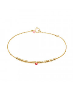 Enamel, Armbånd, Delicate Beaded, Guld/Ruby