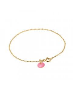 Enamel Armbånd, Ball Chain, Guld/Flamingo