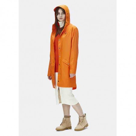 Rains Long Regnjakke med hætte, Fire Orange
