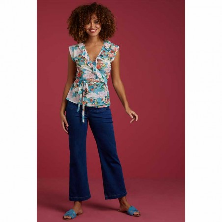 King Louie Bluse, Abby Blossom, Scuba Blue front