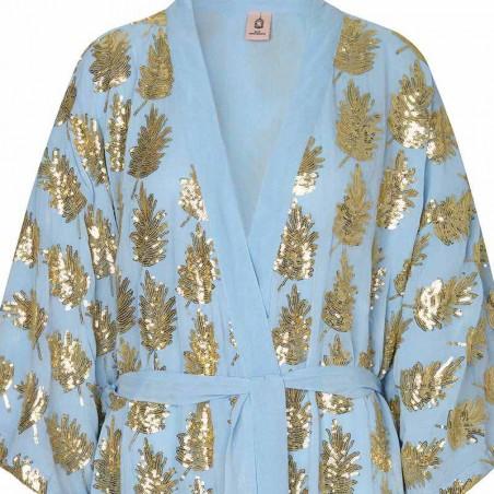 Beck Søndergaard Kimono, Liberte Leaf, Powder Blue detalje