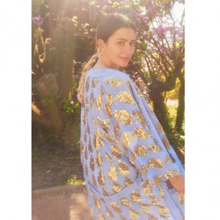 Beck Søndergaard Kimono, Liberte Leaf, Powder Blue model