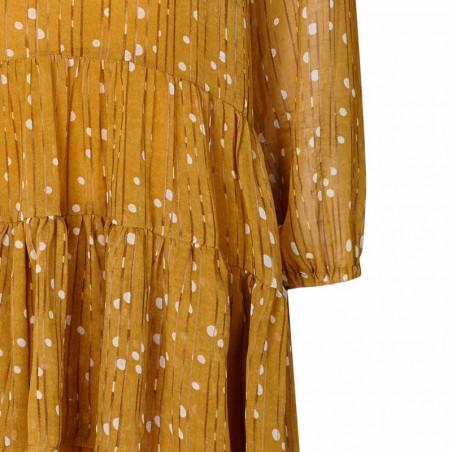 Lollys Laundry Kjole, Piper, Mustard - Detalje