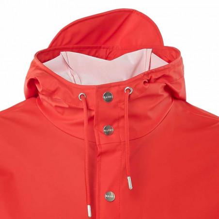 Rains Regnjakke, Lang, Red - close up