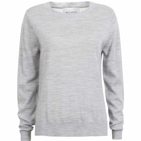 Six Ames Strikbluse, Maquinza, Light Grey Melange