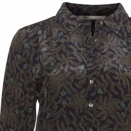 PBO Skjorte, Spottiswood, Black W. Leaves - Detalje
