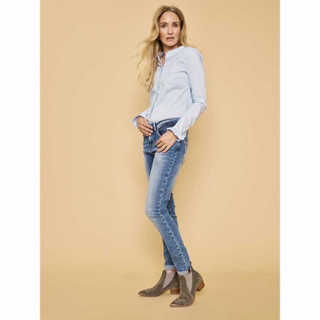 Mos Mosh Skjorte, Mattie Check, Light Blue model full